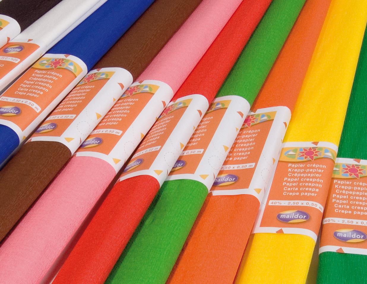 Top Papier Crépon Maildor 2.5m*50 cm 10 rouleaux assortis - Mille et  FE05