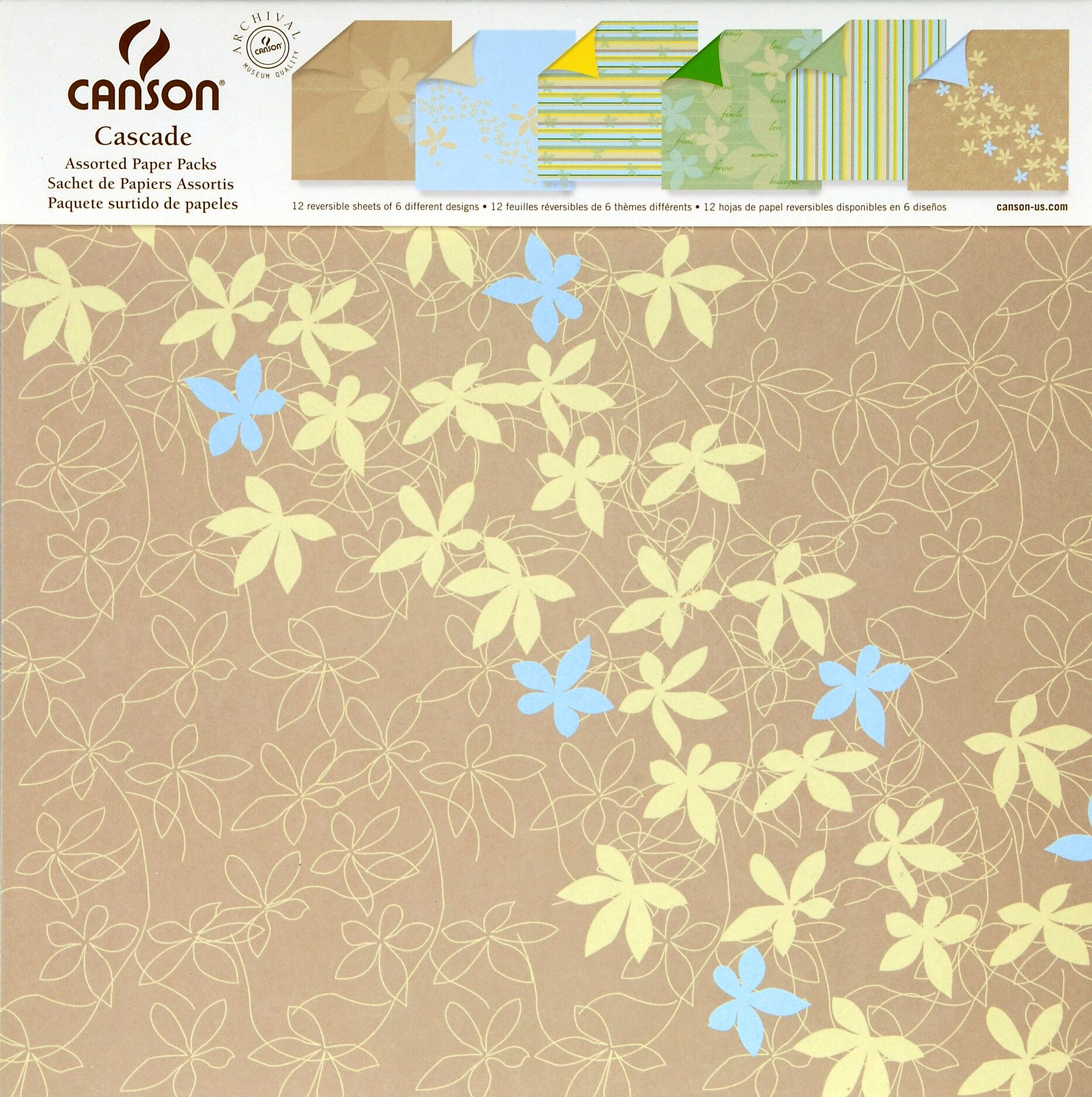 papier scrapbooking cascade canson 305mm x 305mm mille et une feuilles. Black Bedroom Furniture Sets. Home Design Ideas