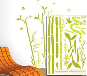 sticker mural bambou de la chance rouge de garance mille et une feuilles. Black Bedroom Furniture Sets. Home Design Ideas