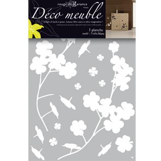 Sticker meuble tr fle blanc rouge de garance mille et for Stickers pour meuble