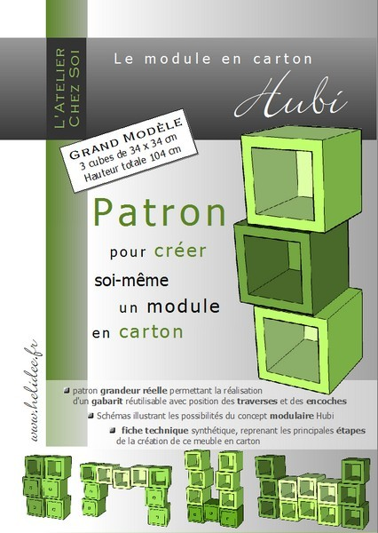patron de meuble en carton petit module hubi mille et une feuilles. Black Bedroom Furniture Sets. Home Design Ideas