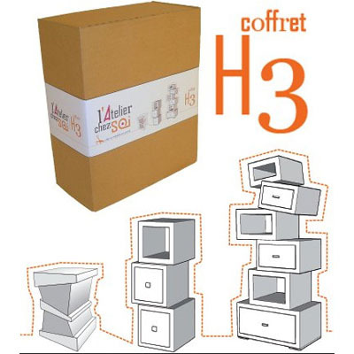 coffret cadeau h3 hubi h kilibre cr er ses meubles en carton mille et une feuilles. Black Bedroom Furniture Sets. Home Design Ideas
