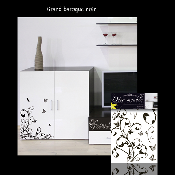 sticker d co meuble baroque noir rouge de garance mille et une feuilles. Black Bedroom Furniture Sets. Home Design Ideas