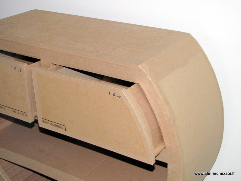 Patron de meuble en carton petite commode heden mille et - Meuble a chaussures en carton ...