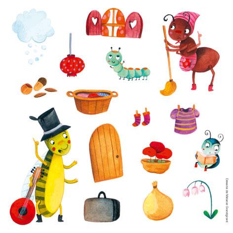 Gommettes thematique mille et une feuilles - Coloriage la cigale et la fourmi ...