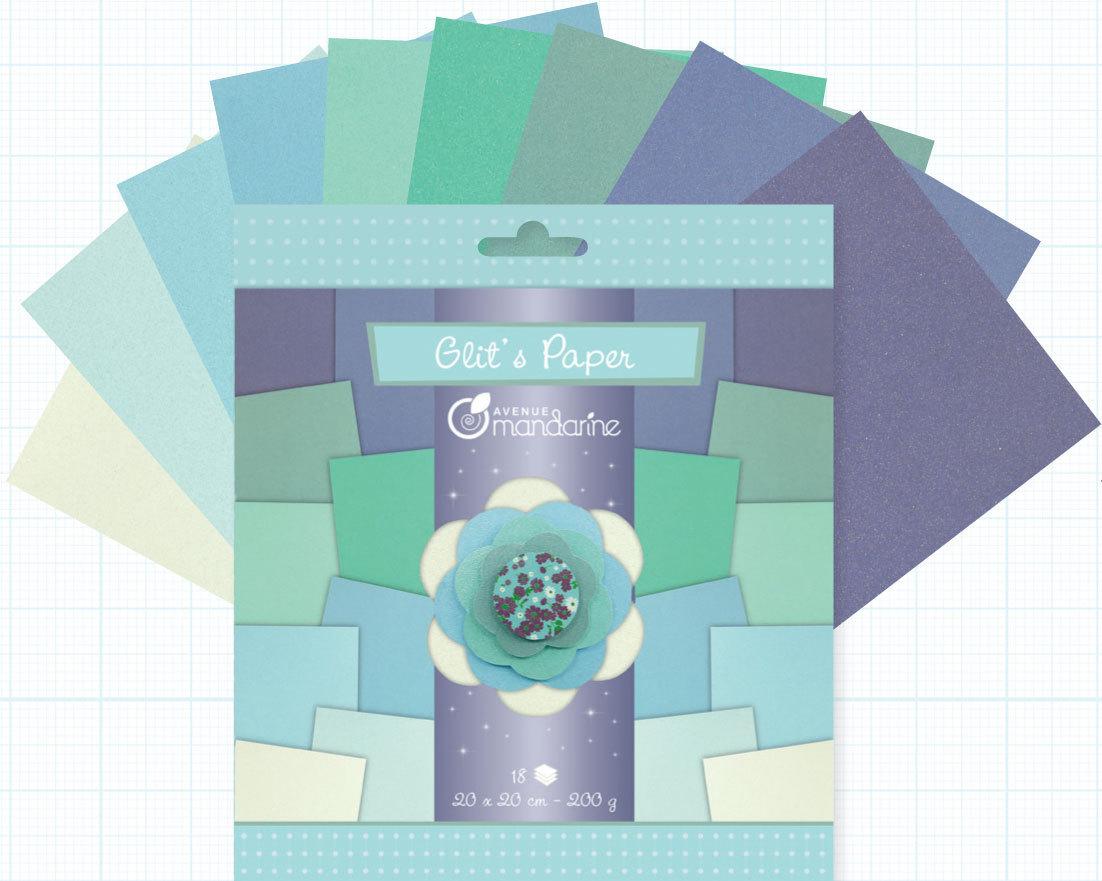 ... Papier Origami Bleu Pailleté Avenue Mandarine