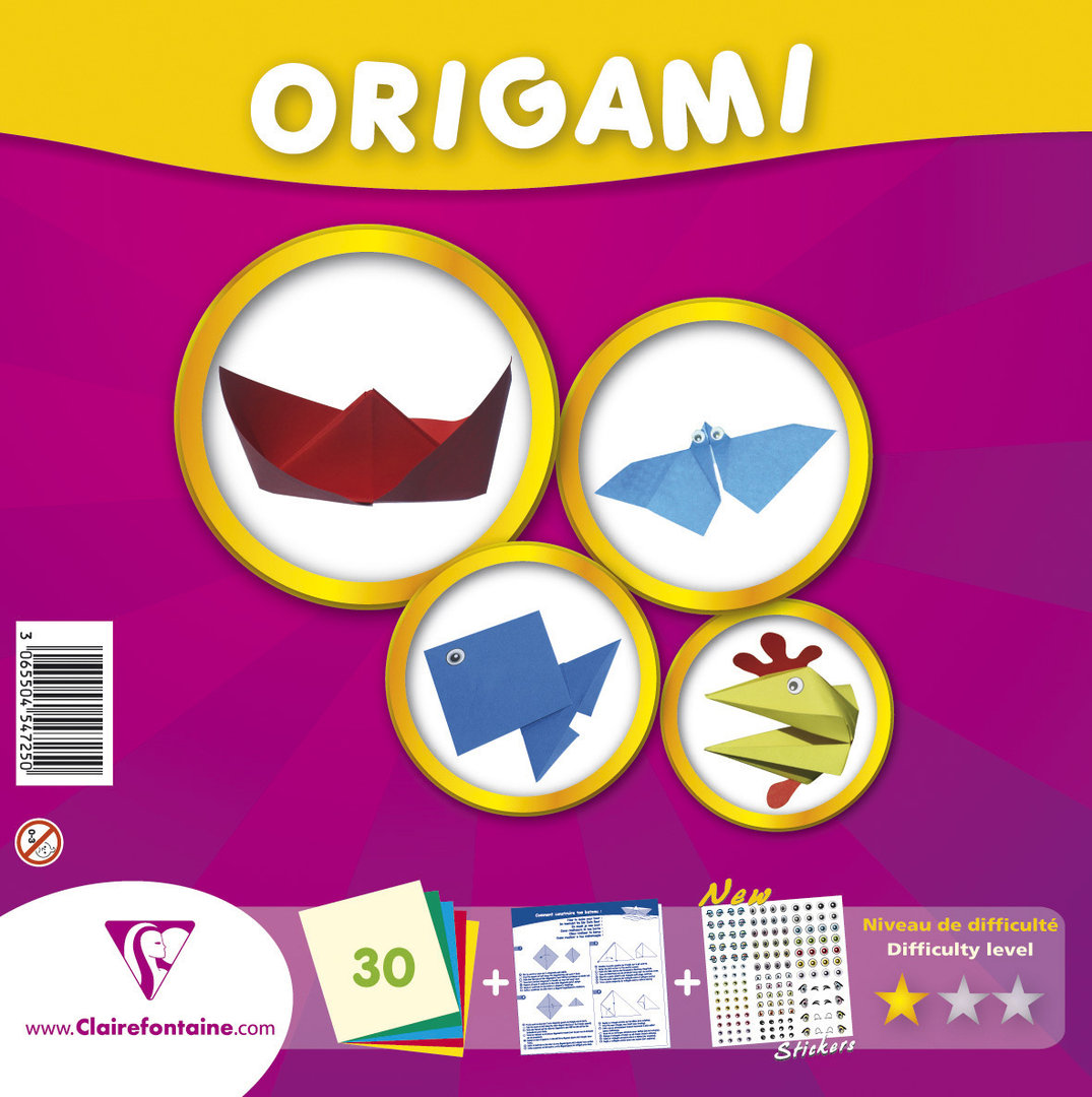 Papier Origami 20 x 20 cm Clairefontaine - Kit niveau initiation