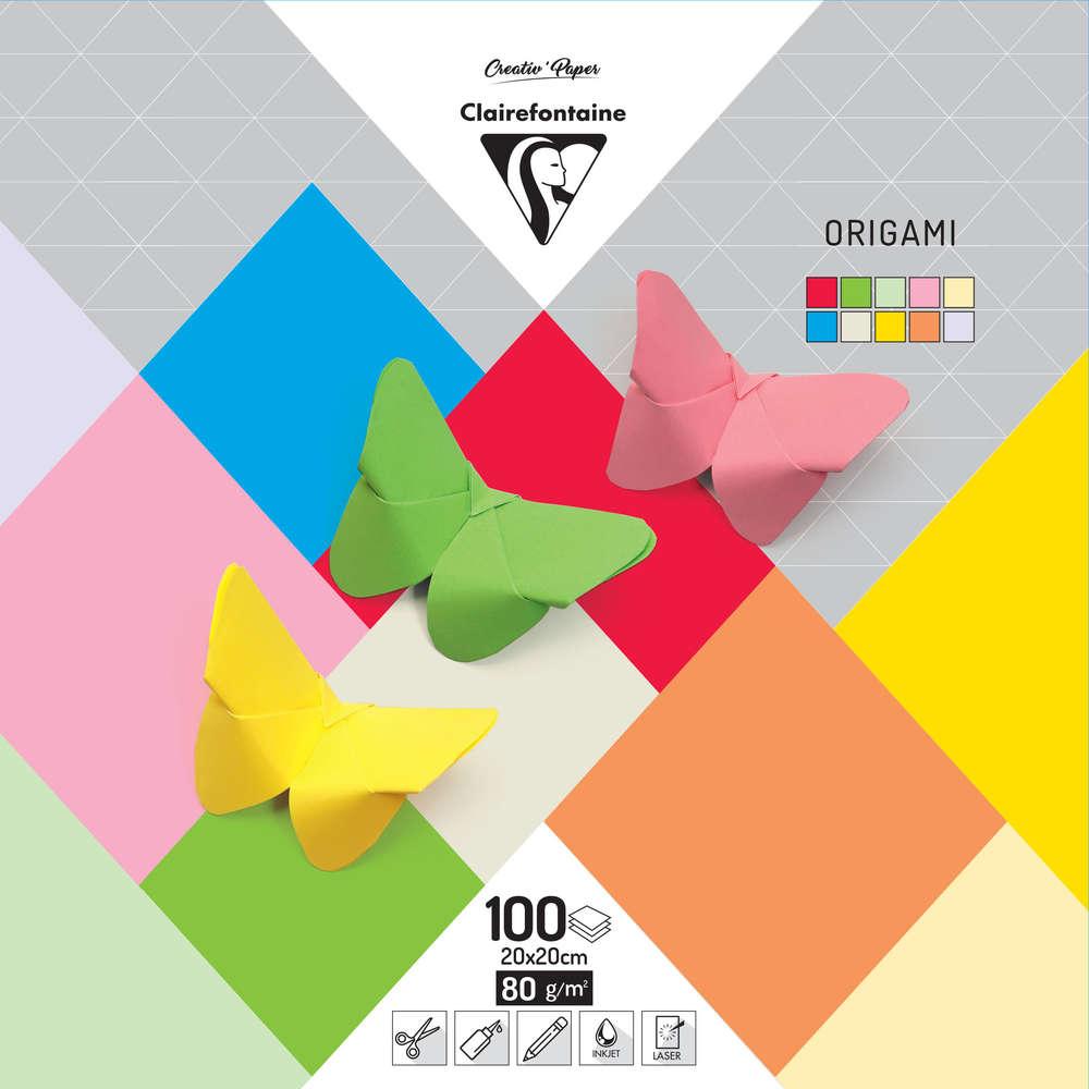 Papier Origami Uni 20 X 20 Cm 100 Feuilles Mille Et Une Feuilles