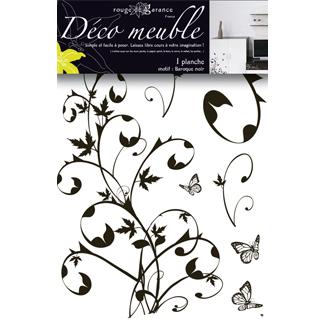 Sticker meuble baroque noir rouge de garance mille et une feuilles - Stickers pour meuble ...