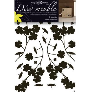 Sticker meuble tr fle noir rouge de garance mille et une feuilles - Stickers deco meuble ...