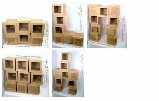 Patron de meuble en carton petit module hubi mille et Petit meuble en carton
