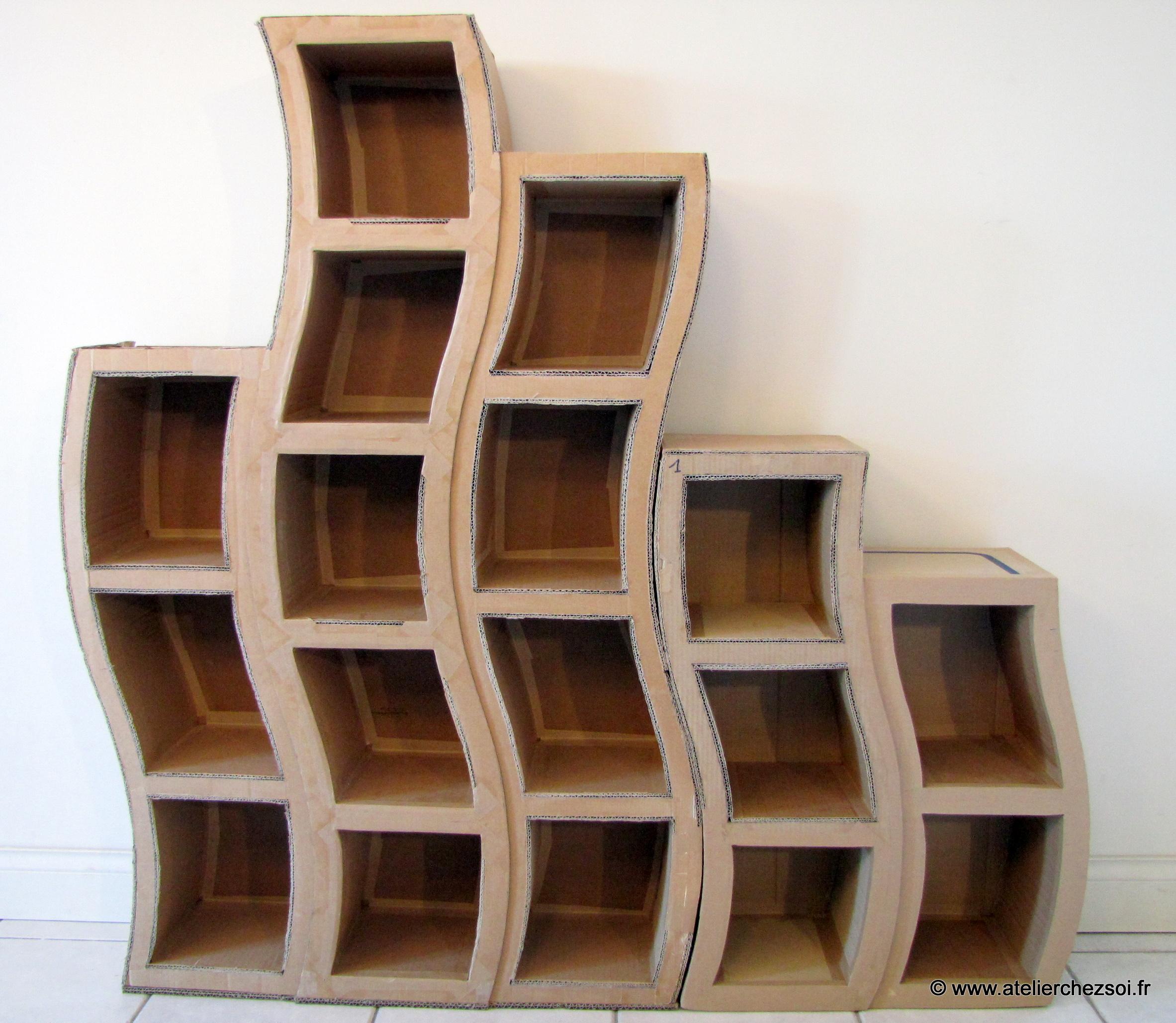 patron de meuble en carton grande etagre hondule