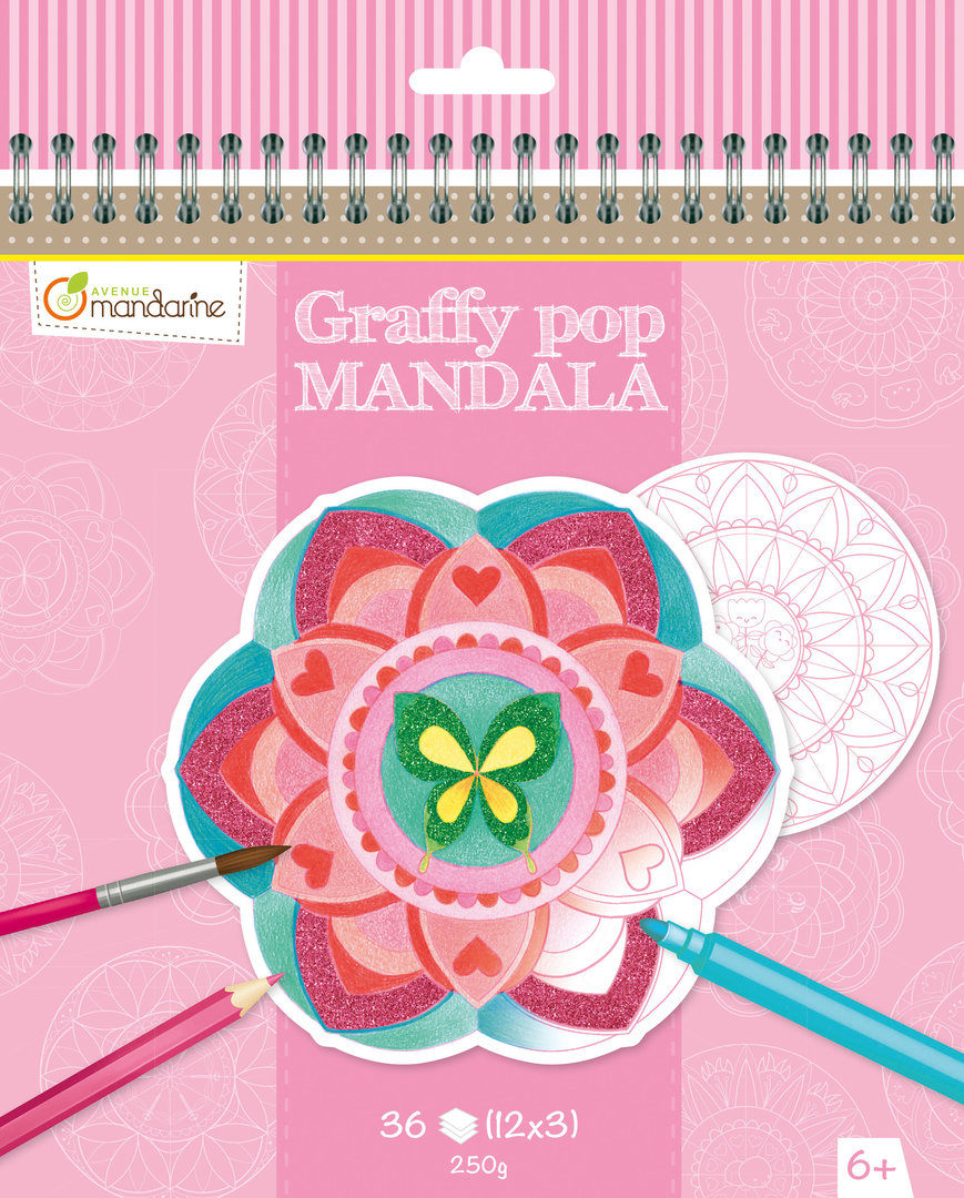 Cahier de coloriage Mandala fille Graffy Pop Avenue Mandarine