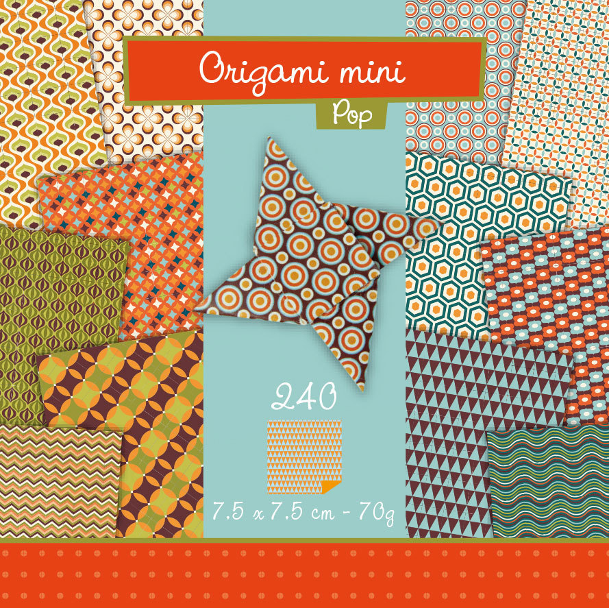 Papier Origami mini Pop Avenue Mandarine