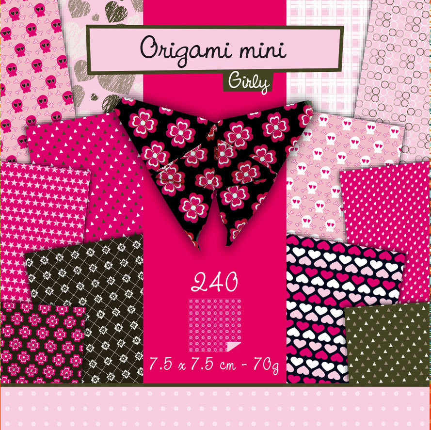 Papier Origami mini Girly Avenue Mandarine