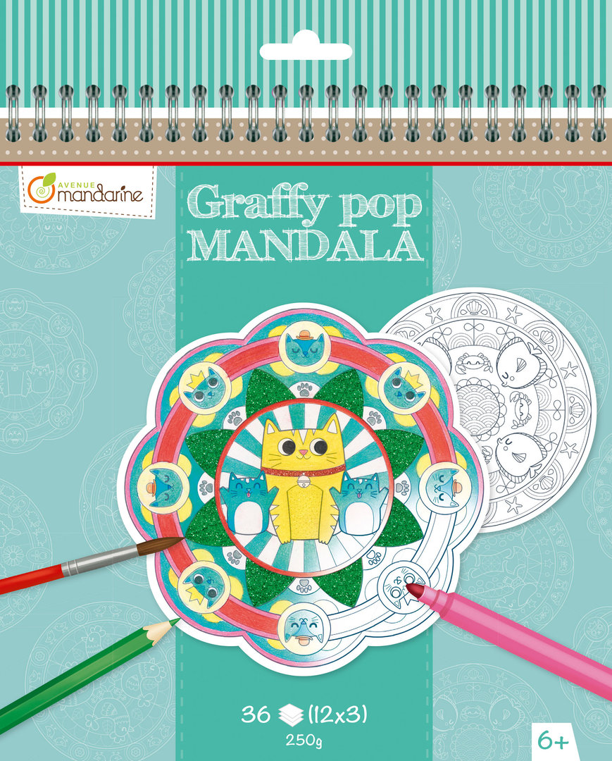 Cahier de coloriage Mandala animaux Graffy Pop Avenue Mandarine