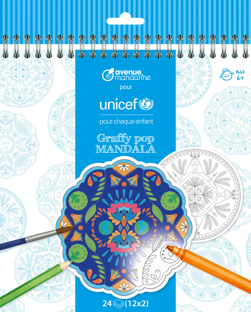 Cahier de coloriage Mandala Unicef Graffy Pop Avenue Mandarine