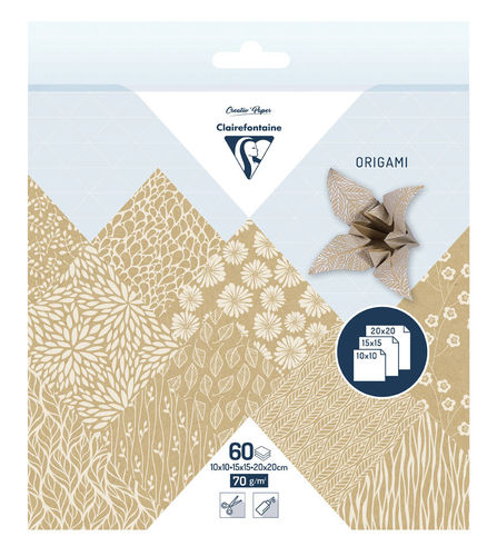 Papier Origami Kraft Floral Clairefontaine 3 formats